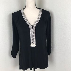 Anthropologie Pebble and Stone Black Top Size M